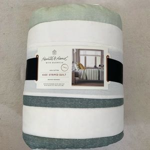 Twin Quilt Hearth & Hand Cotton Green White